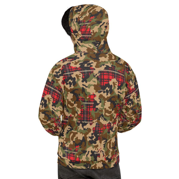 65 MCMLXV Men's Woodland Camouflage & Red Plaid Print Fleece Hoodie-Hoody-65mcmlxv