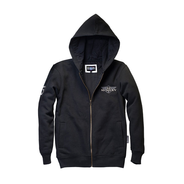 65 MCMLXV Men's Fleece Zip Hoodie In Black-Hoody-65mcmlxv