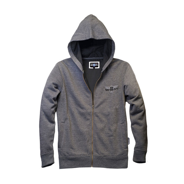 65 MCMLXV Men's Fleece Zip Hoodie In Charcoal-Hoody-65mcmlxv