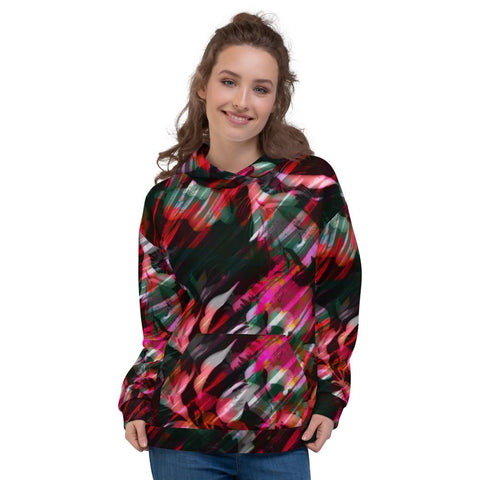 Hoody - Women's Paintbrush Floral Print Fleece Hoodie