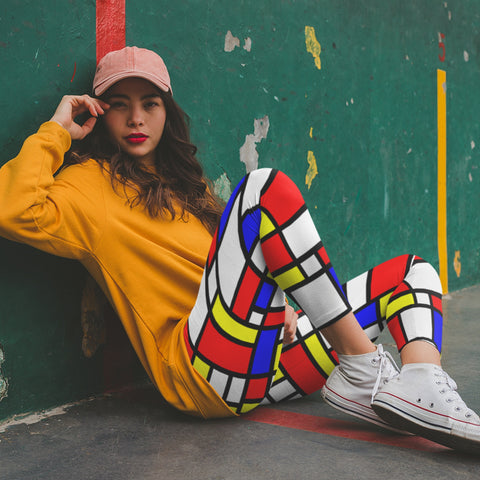 Leggings - AOP - 65 MCMLXV Women's Mondrian Color Block Print Leggings