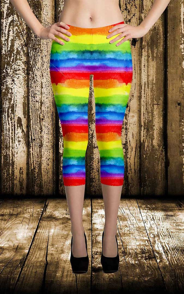 Leggings - Women's Pride Watercolor Rainbow Print Capri Leggings