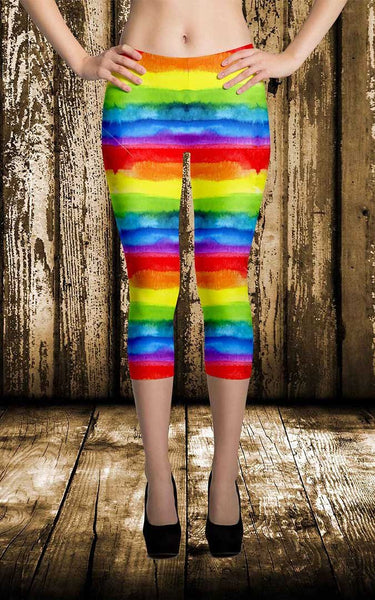 65 MCMLXV Women's LGBT Pride Watercolor Rainbow Print Capri Leggings-Leggings-65mcmlxv