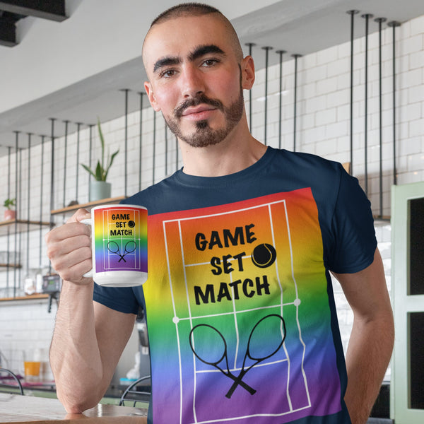 65 MCMLXV Men's Game, Set Match Rainbow Tennis Court Premium Graphic T-Shirt-Men's Premium T-Shirt-65mcmlxv