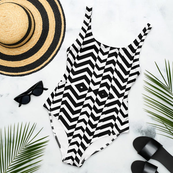 65 MCMLXV Women's Black and White Chevron Wave Print One-Piece Swimsuit-One-Piece Swimsuit - AOP-65mcmlxv