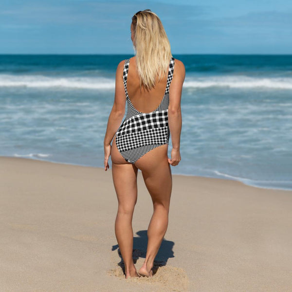 65 MCMLXV Women's Black and White Gingham Plaid Mix Print One-Piece Swimsuit-One-Piece Swimsuit - AOP-65mcmlxv