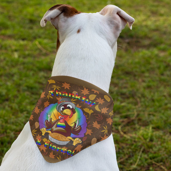 65 MCMLXV LGBT Thankful & Fierce Thanksgiving Turkey Pet Bandana-pet bandana-65mcmlxv