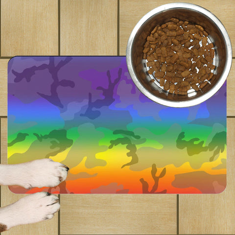 65 MCMLXV LGBT Rainbow Camouflage Print Pet Placemat-pet placemat-65mcmlxv
