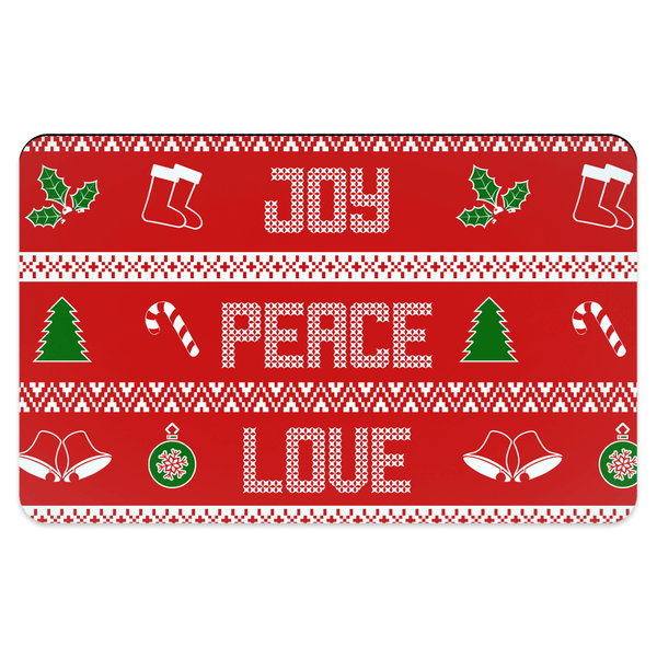65 MCMLXV Peace Love Joy Red Christmas Print Pet Placemat-pet placemat-65mcmlxv