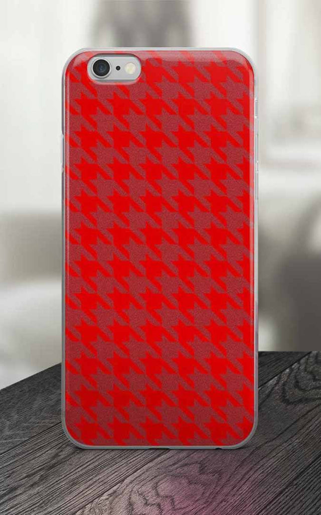 Phone Case - 65 MCMLXV Red Houndstooth Print IPhone Case