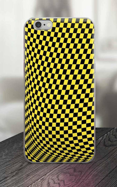 Phone Case - 65 MCMLXV Yellow Distorted Checkerboard Print IPhone Case