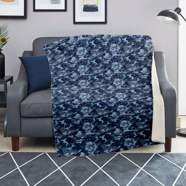 65 MCMLXV Blue Camouflage Print Microfleece Blanket-Premium Microfleece Blanket - AOP-65mcmlxv