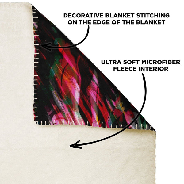65 MCMLXV Paintbrush Floral Print Microfleece Blanket-Premium Microfleece Blanket - AOP-65mcmlxv