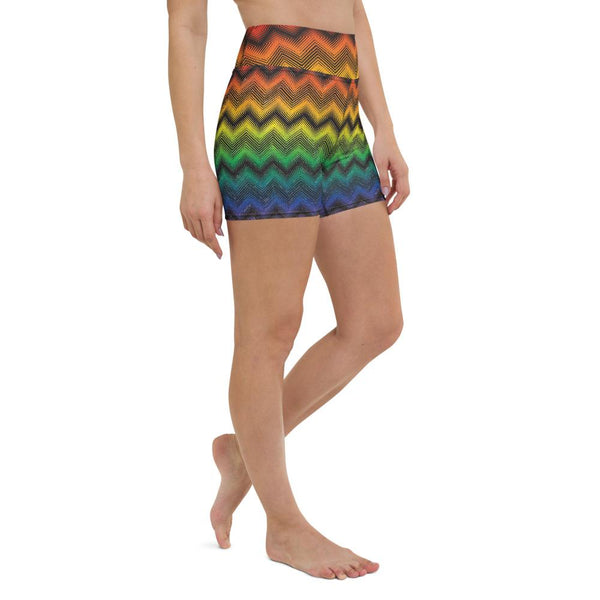 65 MCMLXV Women's LGBT Pride Rainbow Optical Chevron Print Yoga Shorts-Short-65mcmlxv