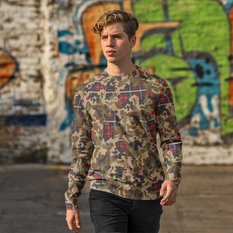 65 MCMLXV Men's Woodland Camouflage & Red Plaid Print Fleece Sweatshirt-Sweatshirts-65mcmlxv