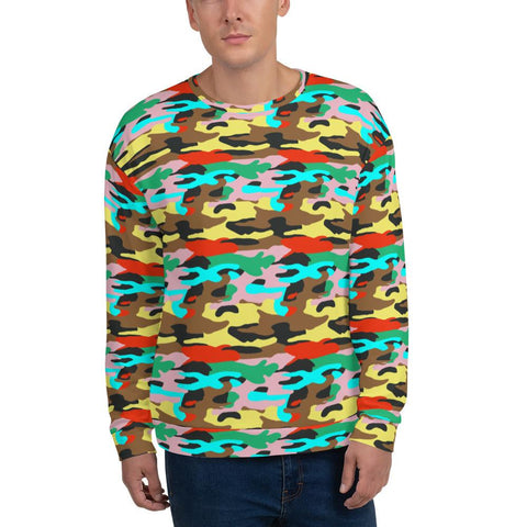 Sweatshirts - Bright Camo Print Fleece Sweatshirt