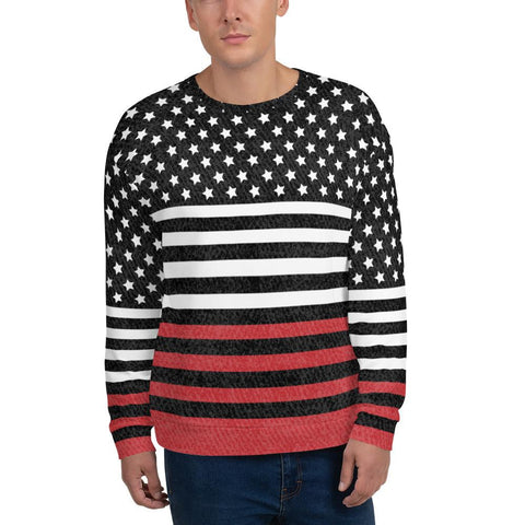 65 MCMLXV Men's Americana Black and Red USA Flag Print Fleece Sweatshirt-Sweatshirts-65mcmlxv