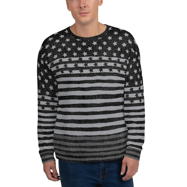 65 MCMLXV Men's Americana Black USA Flag Print Fleece Sweatshirt-Sweatshirts-65mcmlxv