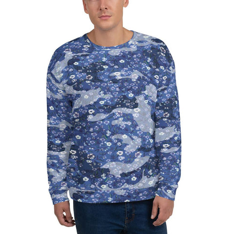 Sweatshirts - Men's Blue Camouflage & Floral Print Fleece Sweatshirt