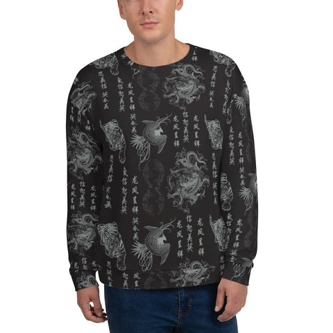 "Sweatshirts - Men's ""Destroy All Icons"" Tattoo Print Fleece Swaetshirt"