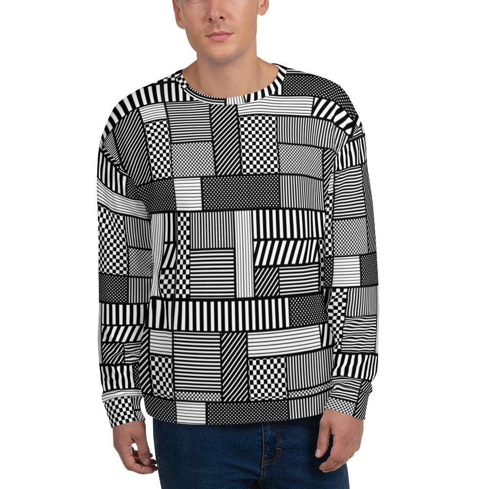 65 MCMLXV Men's Geometric Patchwork Fleece Sweatshirt-Sweatshirts-65mcmlxv