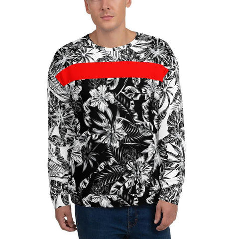 65 MCMLXV Men's Positive/Negative Tropical Floral Print Fleece Sweatshirt-Sweatshirts-65mcmlxv