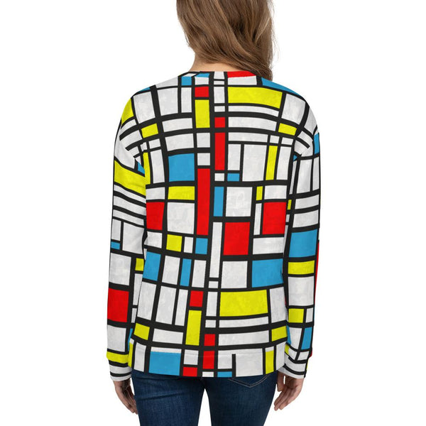 65 MCMLXV Women's Distressed Mondrian Print Fleece Sweatshirt-Sweatshirts-65mcmlxv