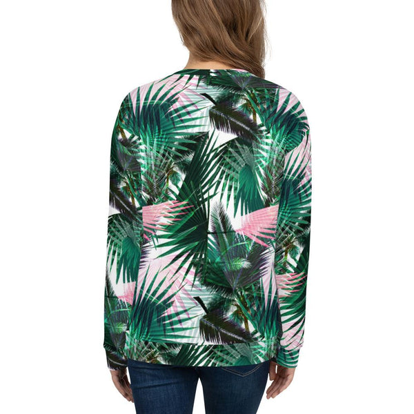 Sweatshirts - Women's Palm Fronds Print Fleece Sweatshirt