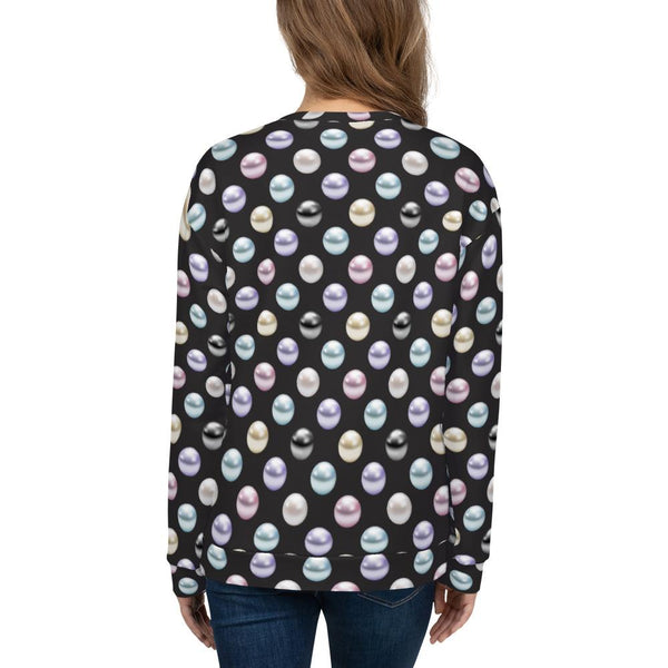 Sweatshirts - Women's Pearl Polka Dot Print Fleece Sweatshirt