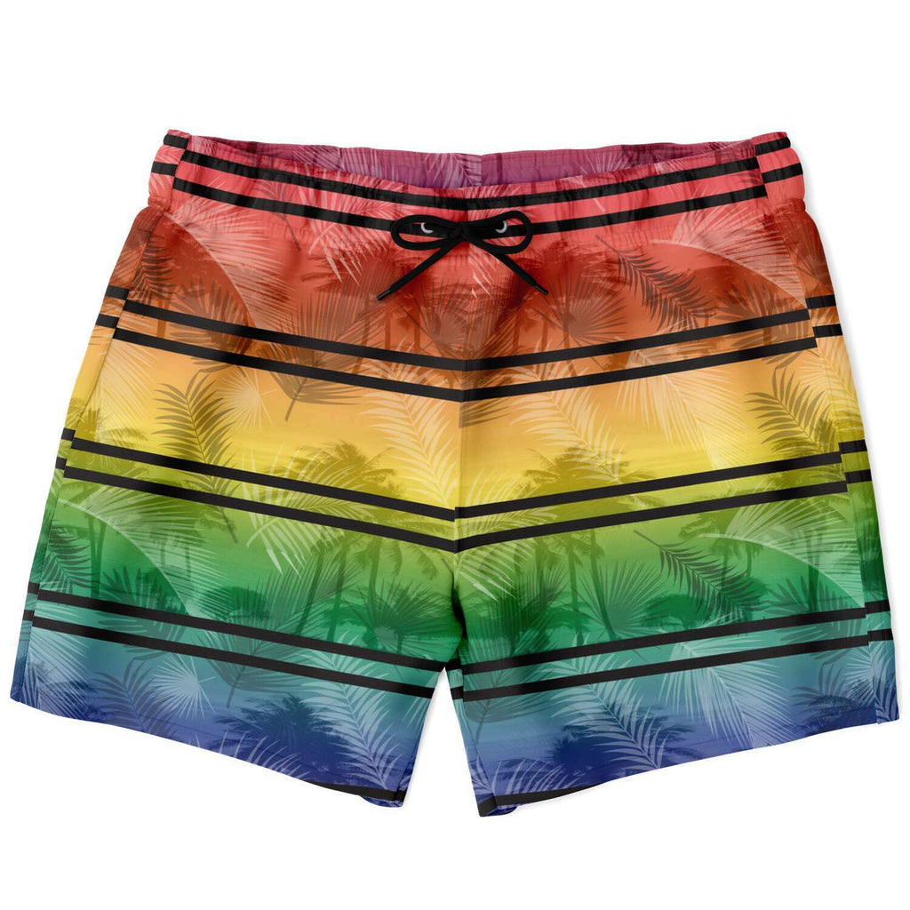 65 MCMLXV Men's LGBT Rainbow Palm Stripe Swim Trunks-Swim Trunks Men - AOP-65mcmlxv