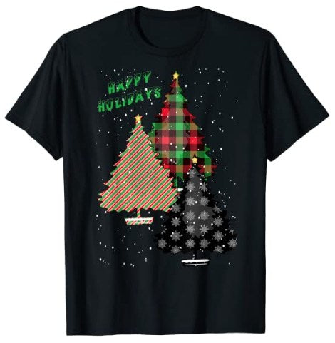65 MCMLXV Unisex Happy Holidays Patterned Christmas Trees Graphic T-Shirt-T-shirt-65mcmlxv
