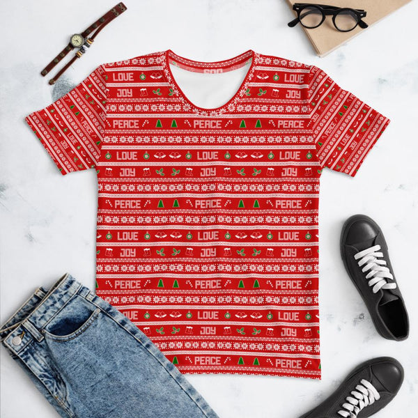 65 MCMLXV Unisex Peace Joy Love Red Christmas Sweater Print T-Shirt-T-shirt-65mcmlxv