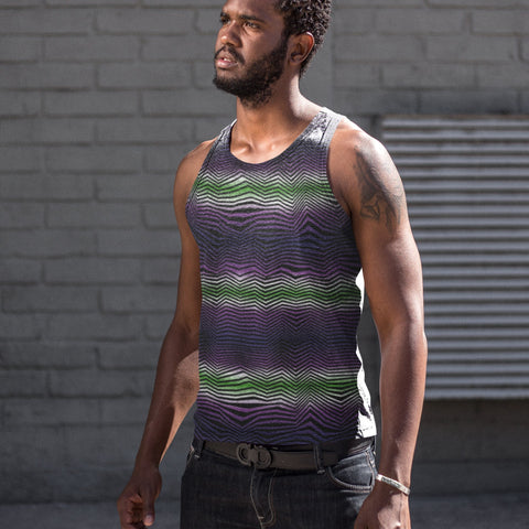 65 MCMLXV Men's Geometric Gradient Wave Tank Top-Tank Top-65mcmlxv