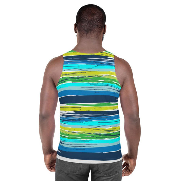 65 MCMLXV Men's Paintbrush Stripe Print Tank Top-Tank Top-65mcmlxv