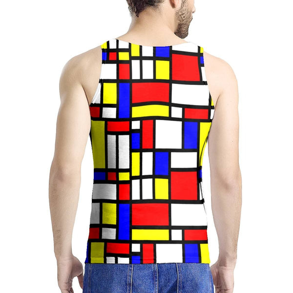 Tank Top - 65 MCMLXV Unisex Mondrian Color Block Print Tank Top