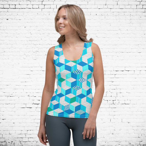 65 MCMLXV Women's 3-D Geometric Blocks Tank Top-Tank Top-65mcmlxv