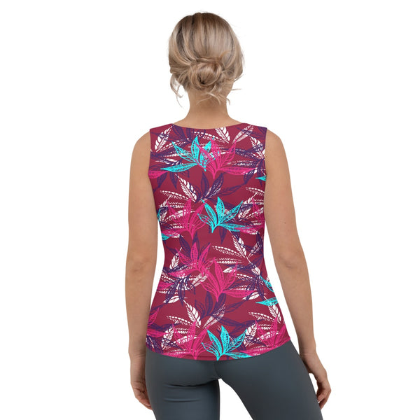 Tank Top - 65 MCMLXV Women's Lovely Leaves Print Tank Top