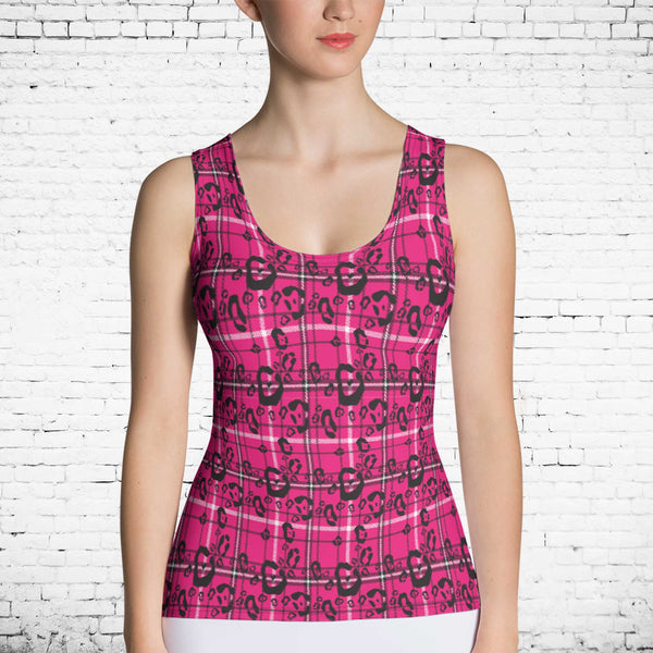 65 MCMLXV Women's Pink Plaid And Leopard Print Tank Top-Tank Top-65mcmlxv