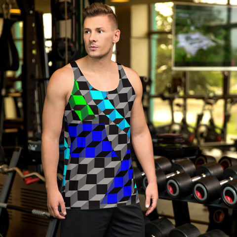 65 MCMLXV Men's 3-D Cubes Printed Tank Top-Tank Top-65mcmlxv