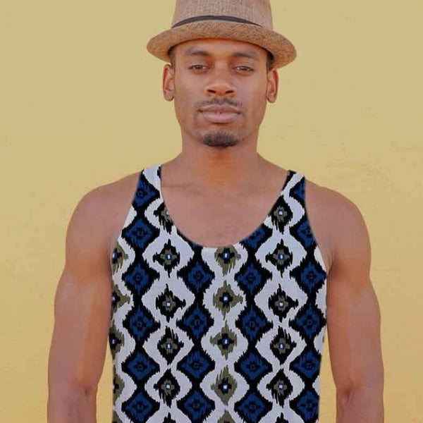 Tank Top - Men's Batik Ikat Print Tank Top
