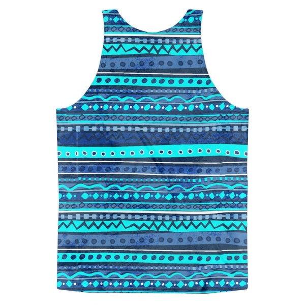 Tank Top - Men's Blue Batik Stripe Tank Top