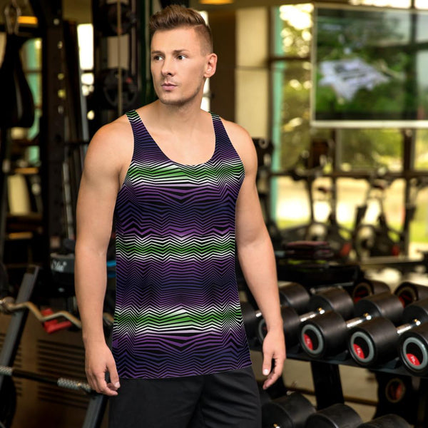 Tank Top - Men's Geometric Gradient Wave Tank Top