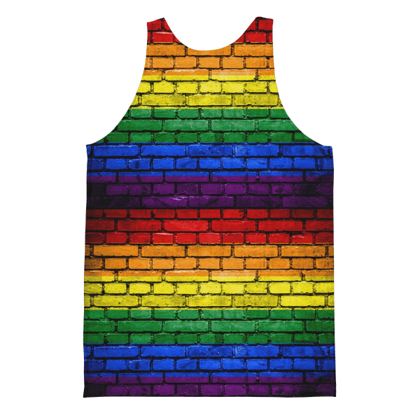Tank Top - Men's Pride Rainbow Brick Wall Printed Tank Top