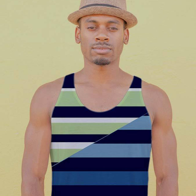Tank Top - Men's Spliced Rugby Stripe Tank Top
