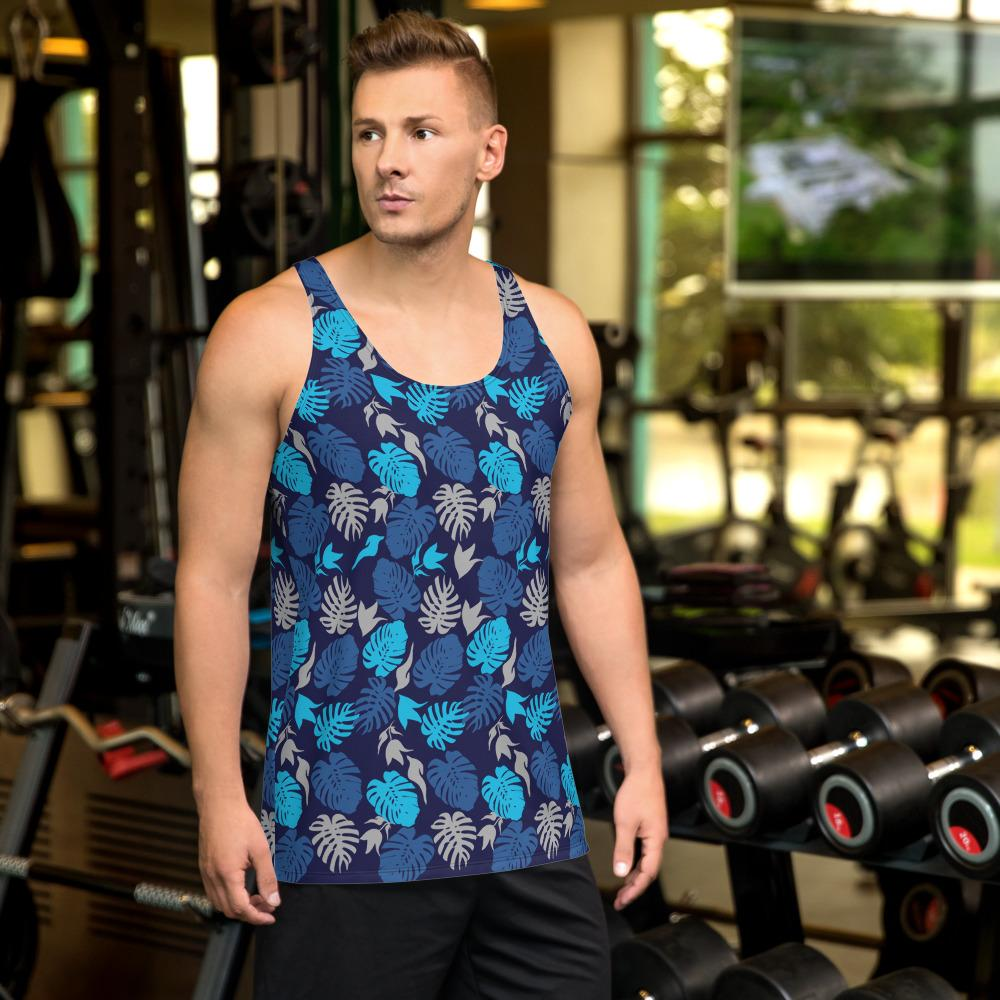 65 MCMLXV Men's Tropical Leaves Print Tank Top-Tank Top-65mcmlxv