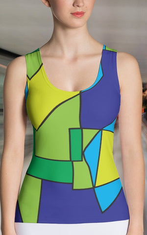 Tank Top - Women's Abstract Color Block Tank Top