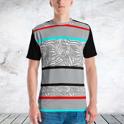 65 MCMLXV Men's Tropical Stripe Print T-Shirt-Tee Shirt-65mcmlxv