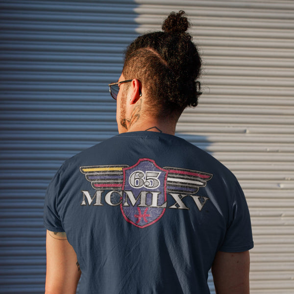 65 MCMLXV Men's Vintage Logo Graphic T-Shirt In Navy-Tee Shirt-65mcmlxv
