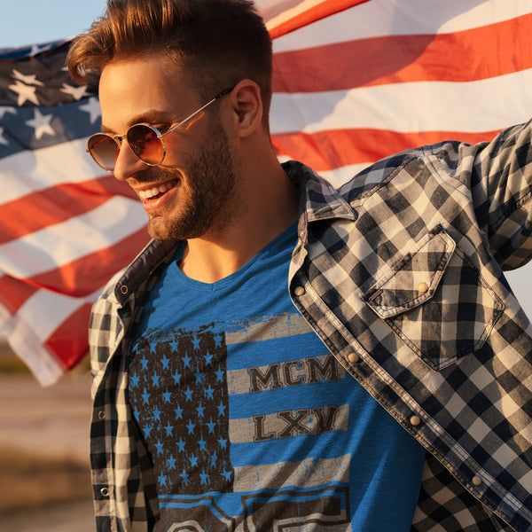 65 MCMLXV Men's Vintage USA Flag Americana Graphic T-Shirt-Tee Shirt-65mcmlxv