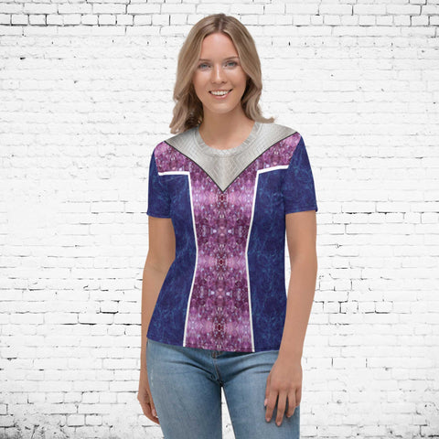 65 MCMLXV Women's Isabelle Purple Princess Print T-Shirt-Tee Shirt-65mcmlxv